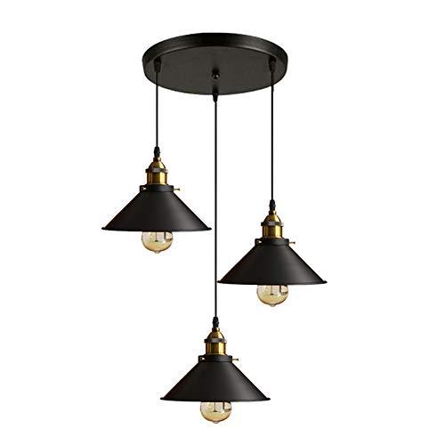 Industrielle Vintage Pendelleuchte LED Retro Hängeleuchte schwarz Lampenschirme aus Metall E27 für Esszimmer, Loft, Bar, Café und Restaurant Pendelleuchte Hängeleuchte Leuchten (3 flammig rund) ,B (Pendelleuchte 3 Klarglas)