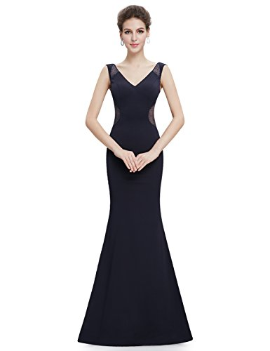 Ever Pretty Robe de Soiree Robe de Cocktail Double V Col Elegante 08789 Bleu Marine