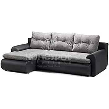 Honeypot - Sofa - Calasetta - Corner - Sofa bed - Storage - Faux  Leather/Fabric (Black/Grey, Left Hand Corner)