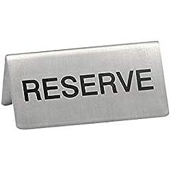 EMGA Lot de 5 chevalets Réservé INOX pour Table d'hôtel - Restaurant - INOX - 5