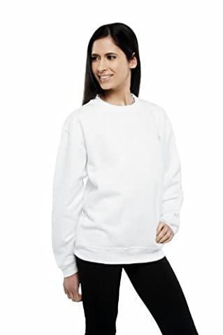 Uneek 300g Plain Classic Crewneck Sweatshirt -White - Medium