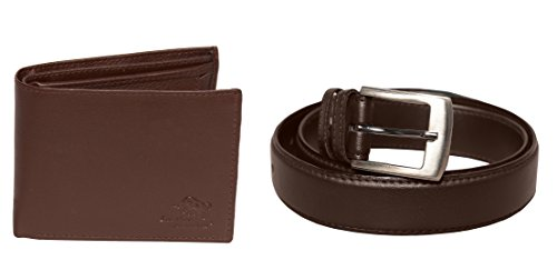 Leather Junction 2 in 1 Brown Combo Set of Stylish No Leather Wallet & Leather Belt