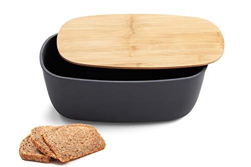 Faircookware Brotkasten aus Bambus - Mit Deckel aus Bambus - 35 x 18 x 13 cm - Brotbehälter - Oval