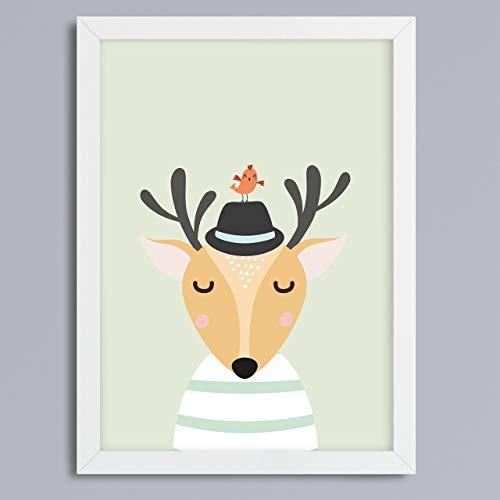 Hirsch mit Vogel und Hut Druck ohne Rahmen