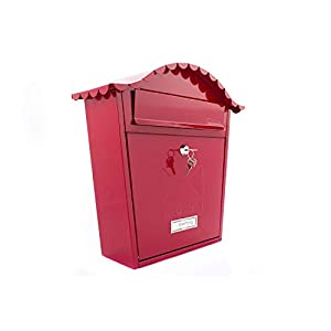 Sterling MB01R Classic Wall Mounted Galvanised Steel Lockable Weatherproof Post Box-Red-36x37x13cm, Red, 363x370x134mm