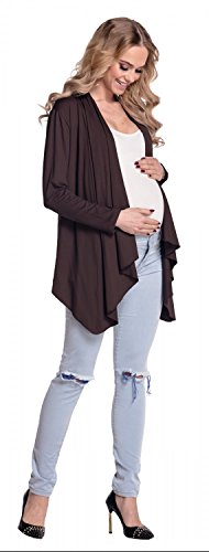 Happy Mama Femme Maternité Blazer grossesse effet cascade cardigan. 320p Chocolat