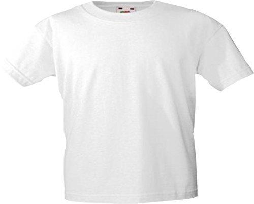 Kurzarm Raglan T-shirt (ShirtInStyle Kinder-Shirt Basic UNI Fruit of the Loom, Farbe Weiss, Größe 128)