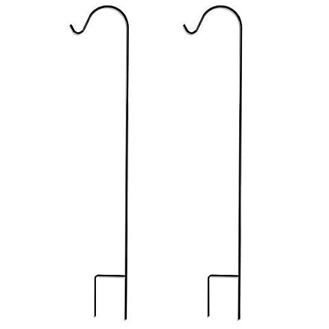graybunny gb-6814Berger Crochet, 121,9cm, 2/12,7cm d'épaisseur, Super Résistant, résistant à la rouille en métal de haute qualité pour utilisation à la plante à suspendre les mariages, paniers, lampes solaires, Lanternes, mangeoires, Cintres 2-Pack noir