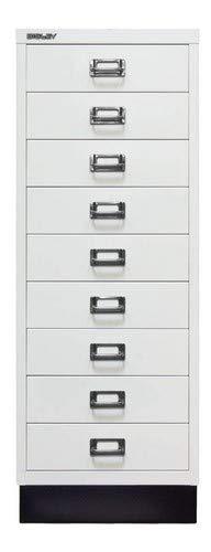 Bisley MultiDrawer, 39er Serie mit Sockel, DIN A3, 9 Schubladen, Metall, 696 Verkehrsweiß, 43.2 x 34.9 x 94 cm