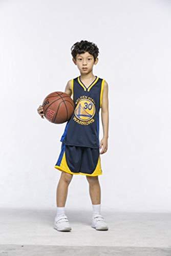 LZNK Kid Boy Herren NBA Warriors 30 Curry Basketball Shorts Sommer Trikots Basketball Uniform Swingman Jersey Top \u0026 Short-Black-M (Kid Shorts Boys)
