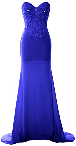MACloth Women Mermaid Strapless Jersey Prom Dress Wedding Party Evening Gown Royal Blue