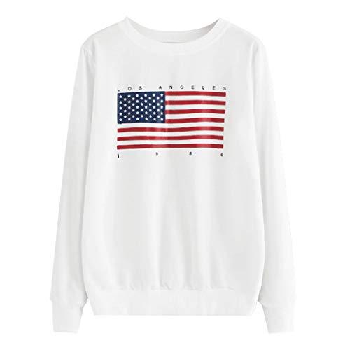 VJGOAL Mujer Otoño Bandera Americana Impreso Sin
