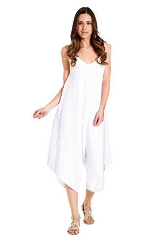 Paris Estyl Damen - Leinenkleid in Culotte-Form - lockerer Sitz - Weiß  Weites Bein One Size LUNAWHITE-One Size 930031d343