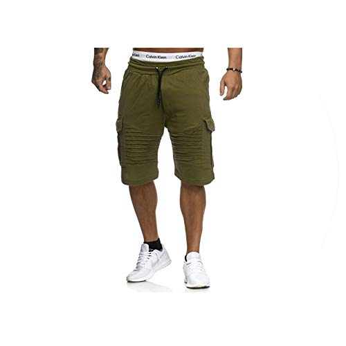 Mens Cargo Shorts Summer Casual Pocket Fitness Shorts Joggers Fashion Men Plus Size 3XL Trousers Sweatpants Short Homme Clothes,Army Green,L