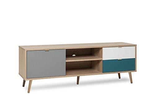 TV Board - Patchwork (B/H/T: ca.: 150 x 52 x 40 cm)  skandinavisches Design - Vollholzfüße