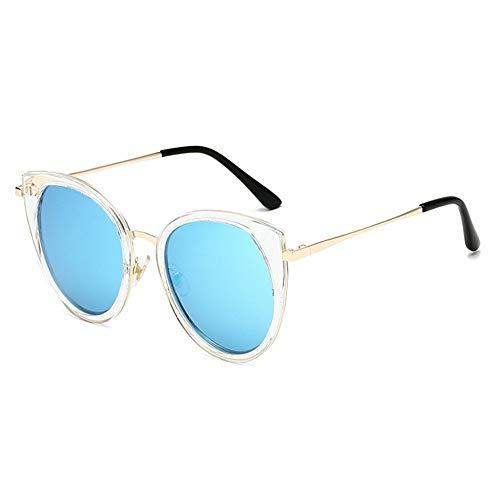 XHCP Frauen polarisierte Klassische Flieger-Sonnenbrille, Sonnenbrille zweifarbige reflektierende Linse Klassische Rahmen-Unisexschutzlinse (Farbe: Blau)