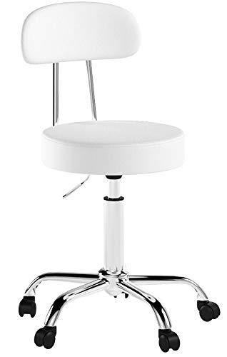 WOLTU® 1 Stück Arbeitshocker Drehhocker Rollhocker Drehstuhl Hokcer Bürostuhl mit Lehne höhenverstellbar Weiss BH34ws-1