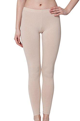 Damen Leggings Baumwolle Beige-M