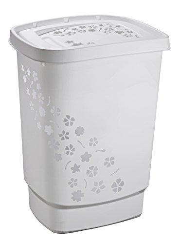 Rotho Flowers Wäschesammler 55 l, Kunststoff (PP), grau, 55 Liter (44,7 x 34,7 x 60,5 cm)
