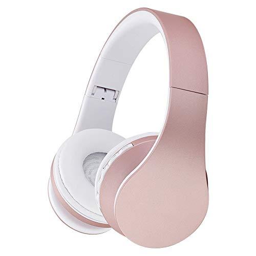 DINOWIN - Auriculares inalámbricos Bluetooth, portátiles, plegables, estéreo, manos libres, con micrófono, para transmisión de música, teléfonos inteligentes, dispositivos Bluetooth, blanco/rosa