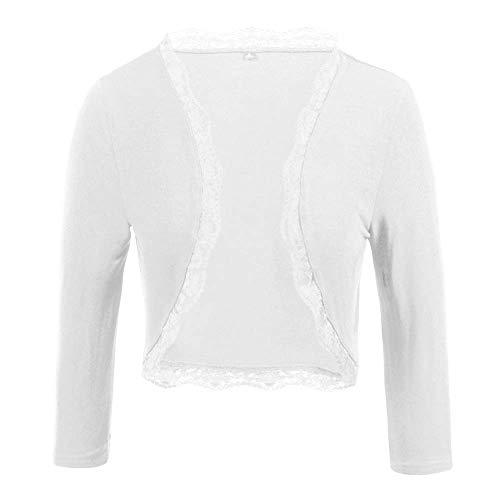 TrendiMax Damen Eleganter Bolero Jacke Festlich Kurze Strickjacke Spitze Jäckchen (Weiß, S)