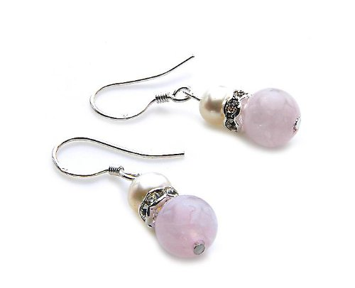 Orecchini da donna in argento 925 perle coltivate d' acqua dolce strass rose semi pietre preziose colorate circa 6,0 - 5,5 mm 829503 - 20