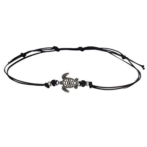Cwemimifa Charm & Bead Trägerelemente für Damen Damen-Armband Sterling-Silber,Damen Turtle Beach Fußkette Fußkettchen Vintage Armband Schmuck,Schwarz