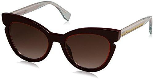 Fendi ff 0132/s v6 n7f 51, occhiali da sole donna, rosso (burgundy crystal pink/brown sf)