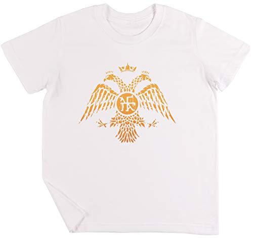 1936313bddad7c Bizantino Águila Símbolo Bandera Niños Chicos Chicas Unisexo Camiseta Blanco