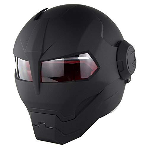 YEXIXI Casco da Moto Cool Iron Man Transformers personalità,Casco Integrale da Adulto per Motocicli,Casco Certificato DOT Four Seasons Universal,L:59~60cm