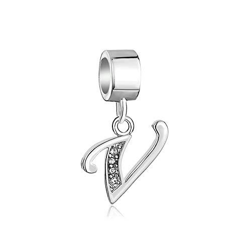 Poetic charms lettere a-z alfabeto in argento sterling 925ciondolo charm per bracciali lettera v e argento, cod. poe_dpc_myss270