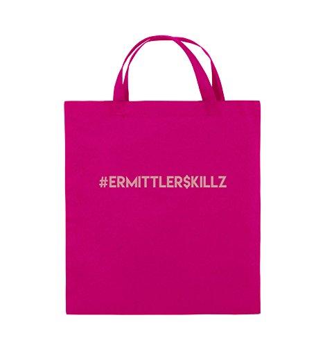 Comedy Bags - #ERMITTLER$KILLZ - Jutebeutel - kurze Henkel - 38x42cm - Farbe: Schwarz / Silber Pink / Rosa