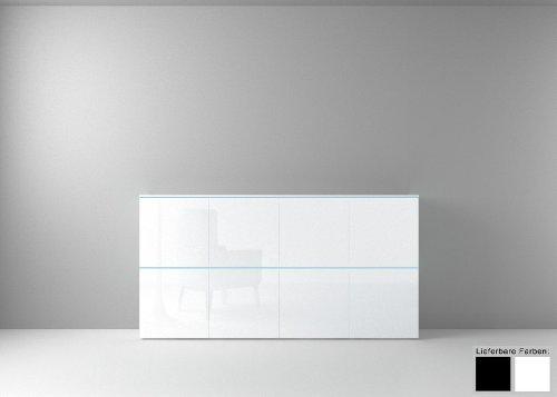 Dreams4Home Sideboard Square Kommode Schrank Wohnzimmer weiß o schwarz hochglanz LED-RGB-Beleuchtung, Beleuchtung:mit Beleuchtung;Farbe:Weiß