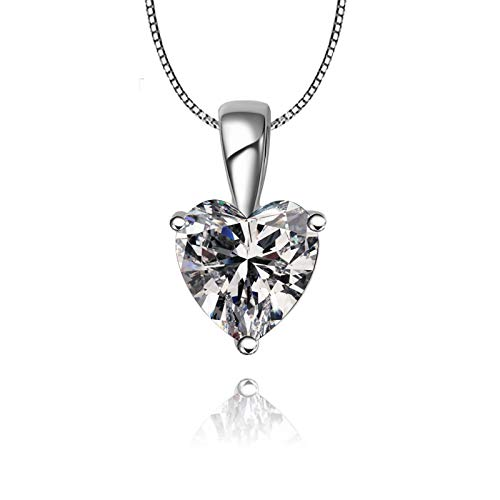 Lafeil 925 Kette Damen Damen Ketten Valentinstag Damen Herz Schliff Schliff Anhänger Damenkette Venezianierkette Silber Weiß Erstellt Diamant 45Cm