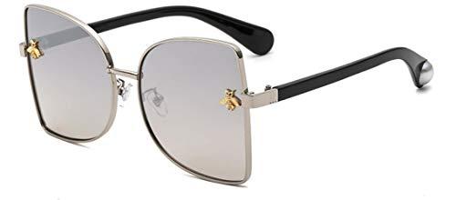 ZIYIZNL Sonnenbrillen Sonnenbrille Dame Persönlichkeit Metall Katzenaugen Biene Sonnenbrille Männliche Sonnenbrille, F