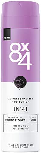 8X4 Deo Spray N°4 Vibrant Flower im 1er Pack, 1 x 150ml, Damen Deodorant mit exotischem Duft, Deo ohne Aluminium für jeden Hauttyp - Protection Anti Perspirant Deodorant Spray