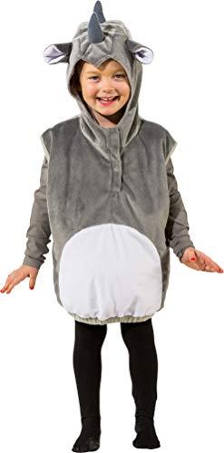 narrenkiste O5010-104 grau-weiß Kinder Mädchen Junge Nashorn Weste-Kostüm - Kind Nashorn Kostüm