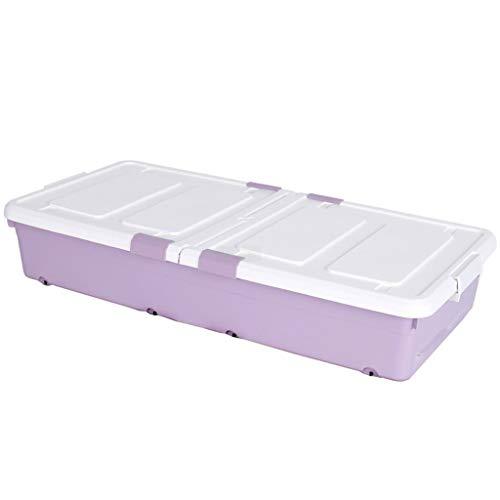 WKYDD Bed Bottom Plastic Storage Box Flat Große Aufbewahrungsbox Kleidung Quilt Aufbewahrungsbox Mit Flaschenzug (Farbe : Lila) -