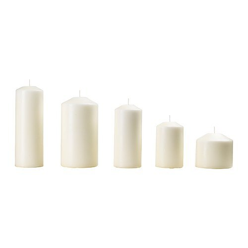 IKEA FENOMEN - vela cuadra sin fragancia, juego de 5, natural