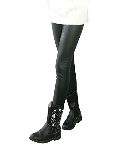 Liangzhu Leggins PU Cuero Skinny Elásticos Pantalones Elegante Pantalones Niña Largos Leggings Pantalones De Cuero Estilo Negro 150