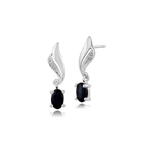 3ade5878d2ea Gemondo Mujer 375 Oro 9ct Oval Oro Blanco Diamante y Zafiro Remolino  Pendientes Gota Azul