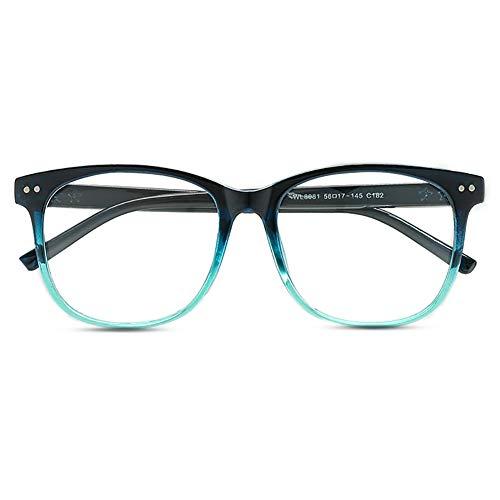 KOOSUFA Klassische Retro Nerdbrille Herren Damen Federscharniere Brille Ohne Sehstärke Streberbrille Brillengestelle Groß Rund Pantobrille Vintage Brillenfassung mit Etui (Blau)