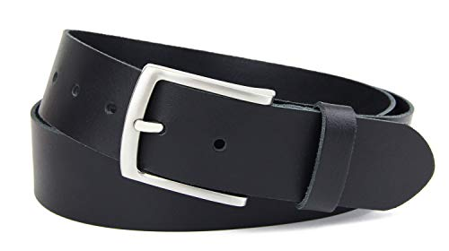 Frentree Damen Gürtel 100% Echt Leder, Made in Germany, 3.8 cm breit und 0.25 cm stark, Schwarz - 100% Echtes Leder