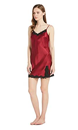 LILYSILK Women's Silk Chemise Short Mini Lace Nightdress Nightgown Ladies Pure 22 Mommme Mulberry Silk Claret Size 8/XS