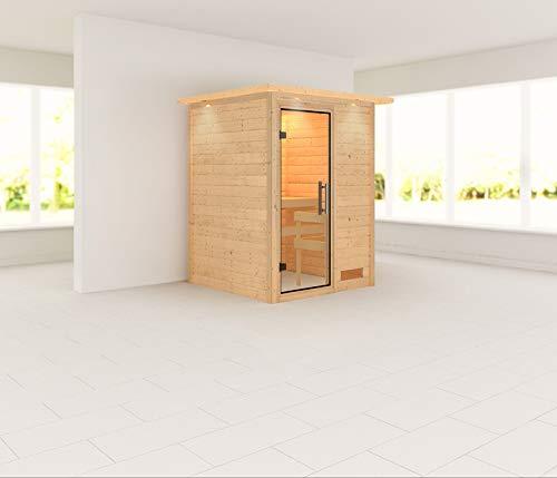 Woodfeeling Sauna Svenja 38mm 230V Dachkranz ohne Ofen Klarglas Tür