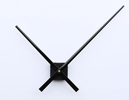 UNADJUSTED Quarz-Uhrwerk Uhrwerk mit Lange Zeiger große extra lang Zeiger Uhrzeiger Metall Ersatz ohne Ticken 3xxl (gewindelänge: 14 mm, schwarz)