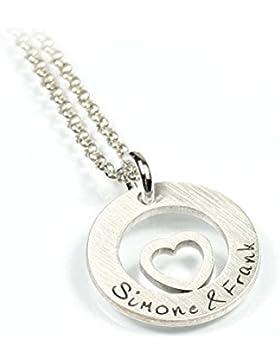 Herzanhänger und Kette aus 925 Silber mit individueller Gravur Herz Liebe Love Symbol | Form: rund | Namenskette...