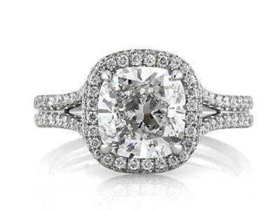 2,85 Karat Solitaire Diamant Jubiläumsringe 14 Karat Solid White Gold Verlobungs Solitaire Ring Größe 49 (15,6)