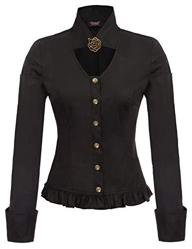 Blusas góticas Steampunk Vintage de Mujer con Dobladillo de Volantes Negro Talla M
