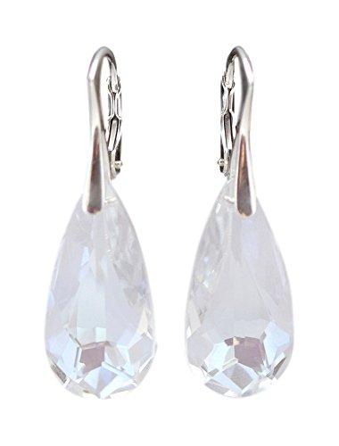 Crystals & Stones *TROPFEN* 24 mm *Viele Farben* Ohrringe Damen Ohrhänger mit Kristallen von Swarovski Elements BA/2 (Moonlight)